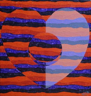 Objectify - Pulse by Srushti Rao, Op Art Painting, Acrylic on Canvas, Purple color