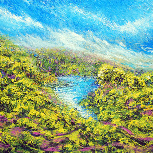 Blu Lagoon by Ghazali Moinuddin, Impressionism Painting, Acrylic on Canvas, Green color