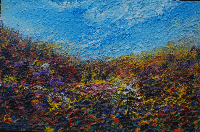Untitled by Ghazali Moinuddin, Impressionism Painting, Acrylic on Canvas, Blue color