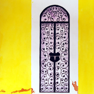 Entrada by Swati Joshi Phatak, Traditional Painting, Watercolor on Paper, Yellow color