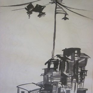 Love and Nature by Dipanjan Bose, Illustration Drawing, Acrylic & Ink on Paper, Gray color