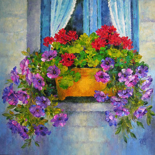 Floral Glory - 24 by Swati Kale, Impressionism Painting, Oil on Canvas, Brown color