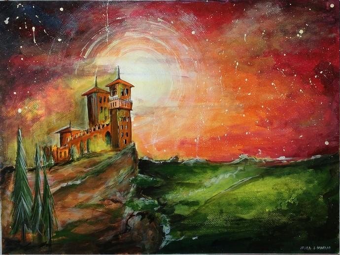 Dreamy night by Jisha Madai, Fantasy, Impressionism Painting, Acrylic on Paper, Brown color
