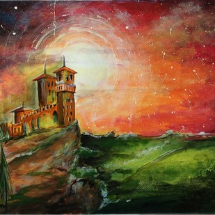 Dreamy night by Jisha Madai, Fantasy, Impressionism Painting, Acrylic on Paper, Brown color