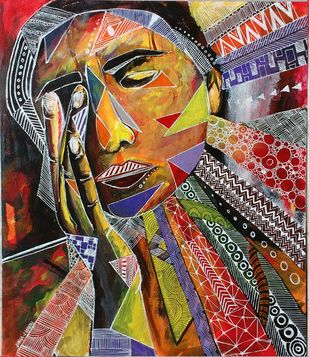 Oppressed soul by Jisha Madai, Expressionism Painting, Acrylic on Paper, Brown color