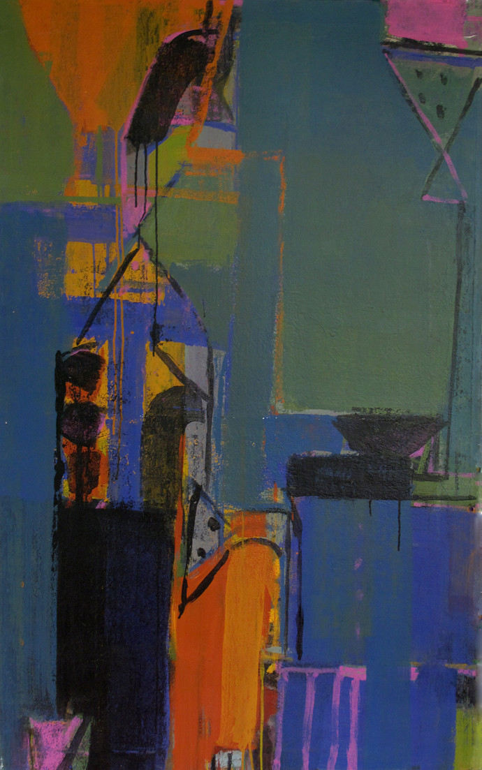 Untitled by John Tun Sein, Abstract Painting, Acrylic on Canvas, Green color