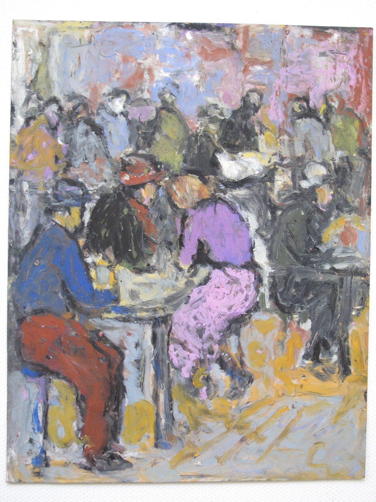 Untitled by John Tun Sein, Impressionism Drawing, Oil Pastel on Paper, Gray color