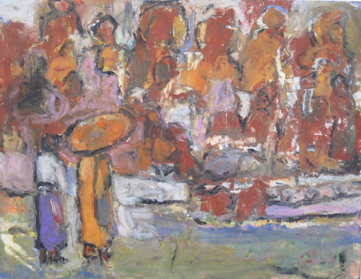 The Monk and I by John Tun Sein, Impressionism Drawing, Oil Pastel on Paper, Brown color