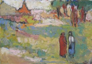 The Monk and I by John Tun Sein, Impressionism Drawing, Oil Pastel on Paper, Beige color