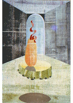 WELCOME by S.P.Verma, Expressionism Painting, Permanent Ink on Paper, Beige color