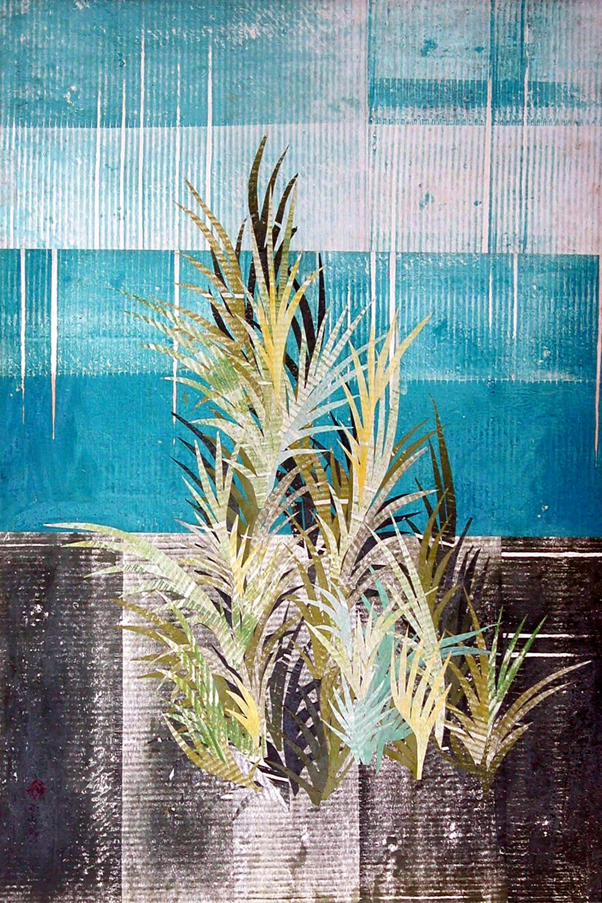 FOLIAGE by S.P.Verma, Expressionism Painting, Permanent Ink on Paper, Cyan color