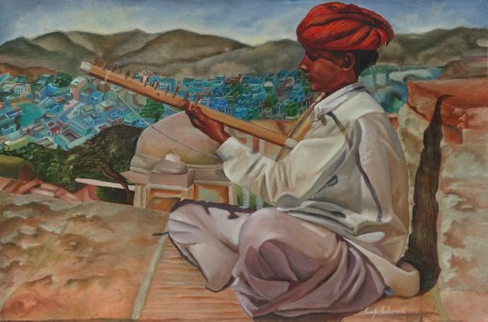 Rajasthani Music by Ramya Sadasivam, Realism Painting, Oil on Canvas, Brown color