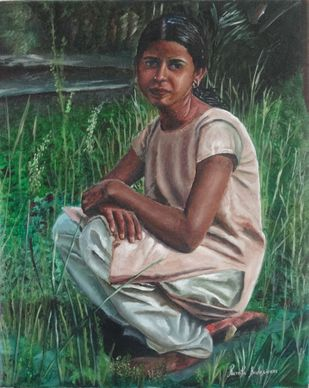 Indian Girl Sitting in the Grass by Ramya Sadasivam, Photorealism Painting, Oil on Canvas, Green color