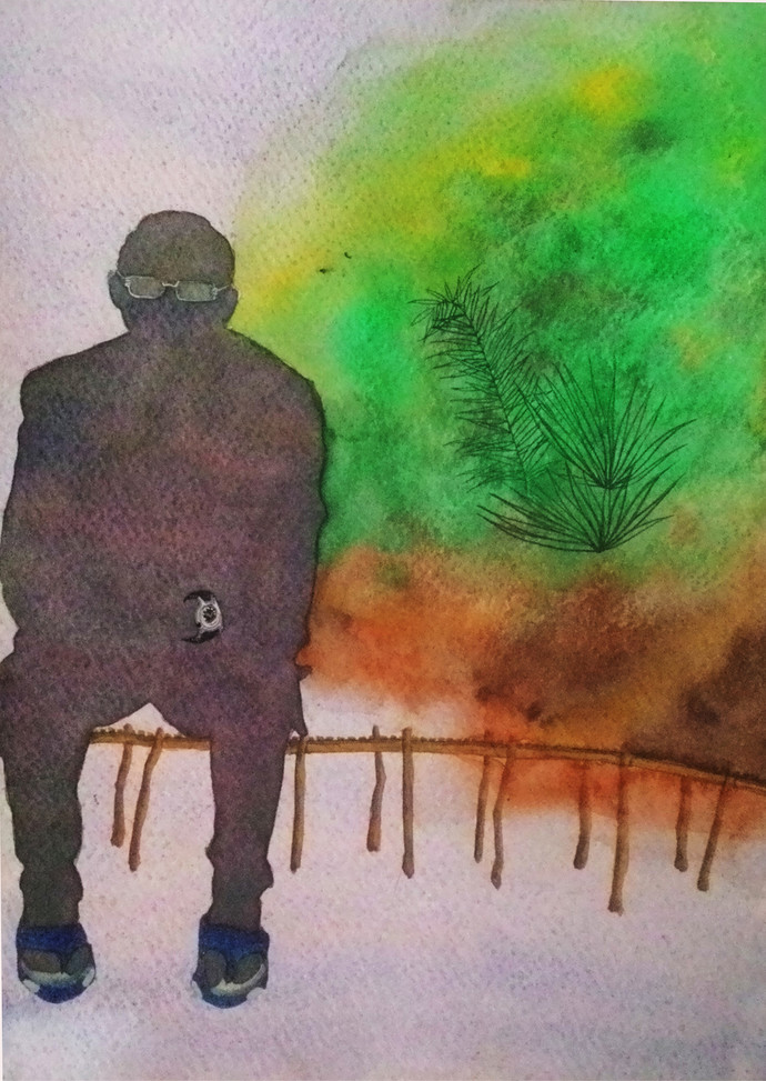 Solitude by Akashdeep, Impressionism Painting, Watercolor on Paper, Brown color