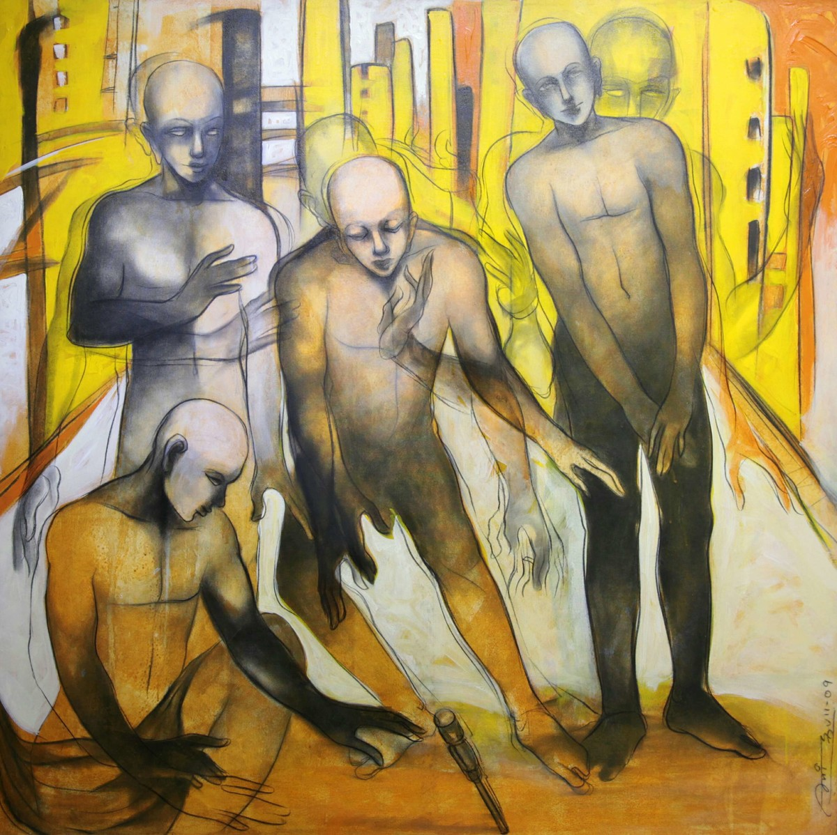 Nostalgia 4 by Amit Dutt, Expressionism Painting, Acrylic on Canvas, Beige color