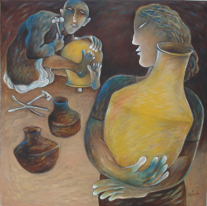 Lady with a pot by Anant Mehta, Impressionism Painting, Acrylic on Canvas, Brown color