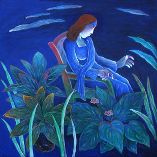 Lady in a garden by Anant Mehta, Impressionism Painting, Acrylic on Canvas, Blue color