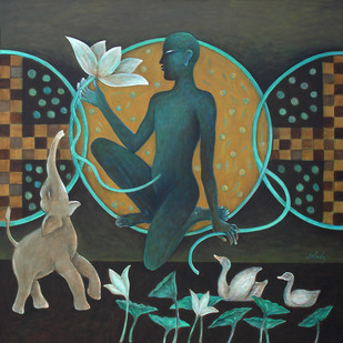 The creator by Anant Mehta, Fantasy, Fantasy Painting, Acrylic on Canvas, Green color