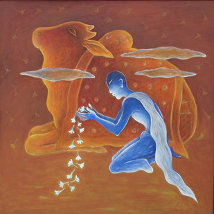 Pooja by Anant Mehta, Fantasy Painting, Acrylic on Canvas, Brown color