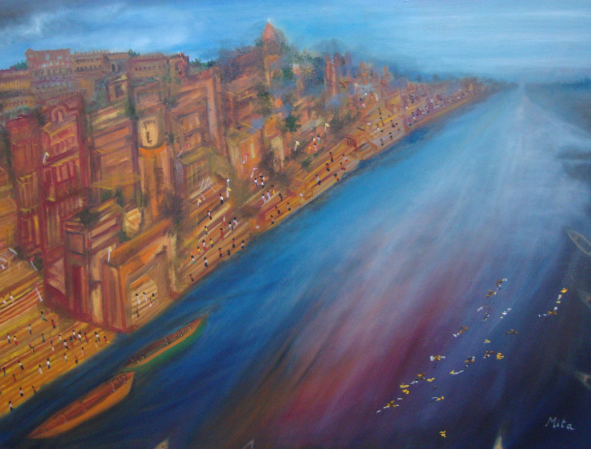 GANGES AT BENARES by Mita Brahma, Impressionism Painting, Oil & Acrylic on Canvas, Blue color