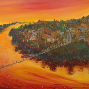 GANGES AT RISHIKESH by Mita Brahma, Impressionism Painting, Oil & Acrylic on Canvas, Brown color