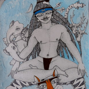 Pashupati by Samik De, Illustration Painting, Acrylic & Ink on Paper, Gray color