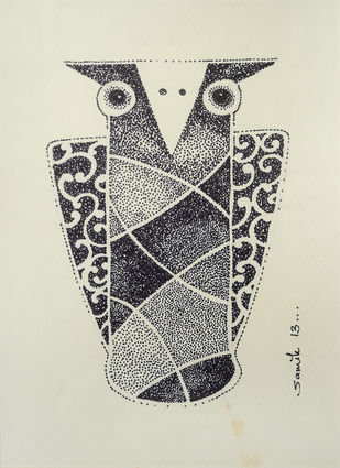 Owl II by Samik De, Illustration Drawing, Ink on Paper, Beige color