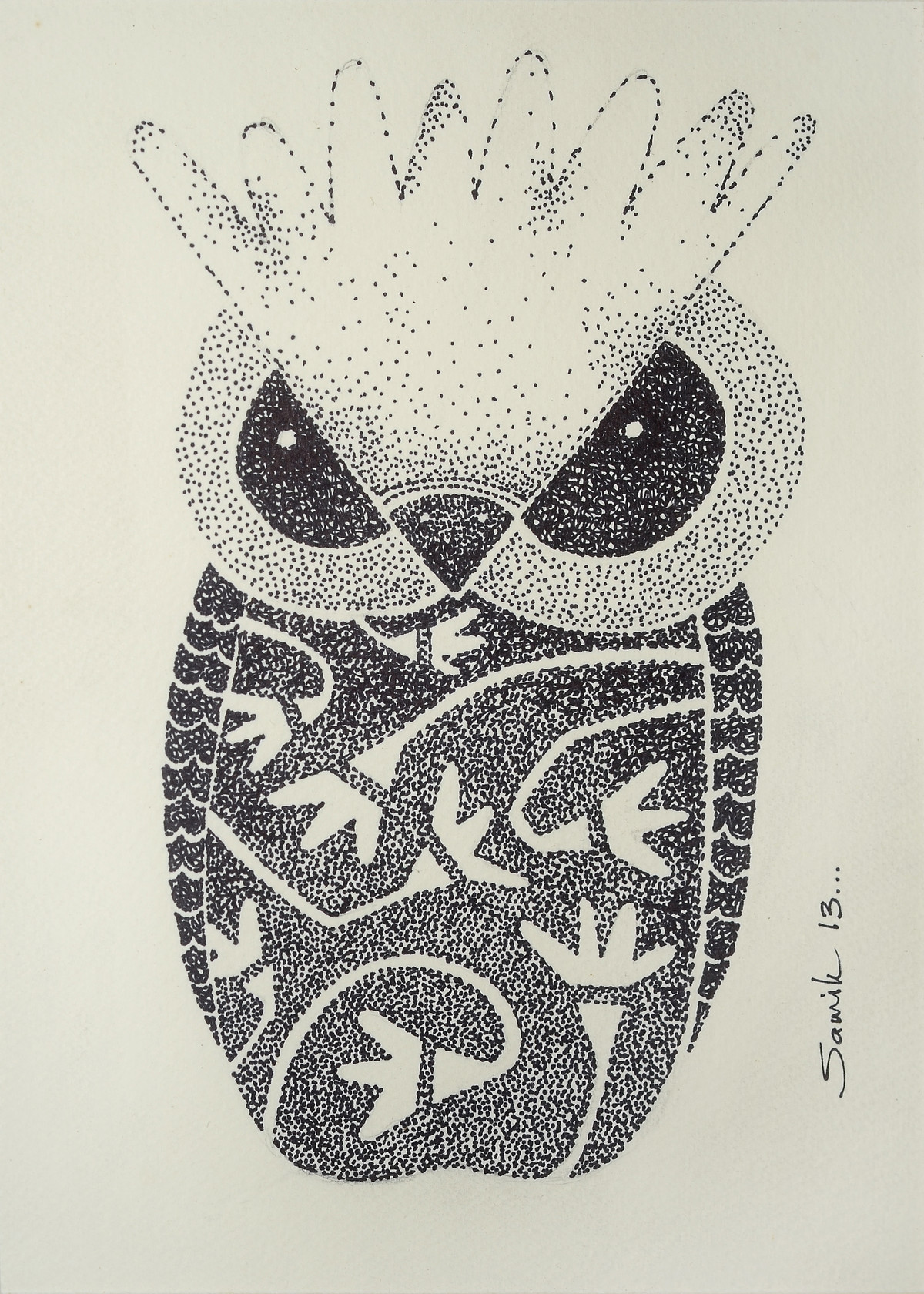 Owl III by Samik De, Illustration Drawing, Ink on Paper, Beige color