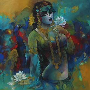 Sownderya -1 new by Rajeshwar Nyalapalli, Decorative Painting, Acrylic on Canvas, Green color