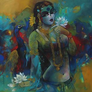 Sownderya -1 new by Rajeshwar Nyalapalli, Decorative Painting, Acrylic on Canvas, Green color