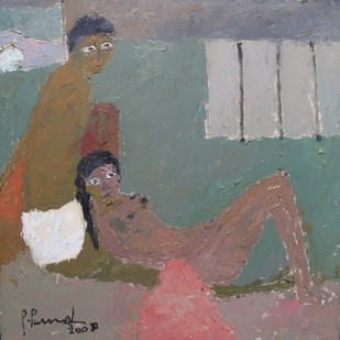 Untitled by Perumal P, Expressionism Painting, Oil on Canvas, Brown color