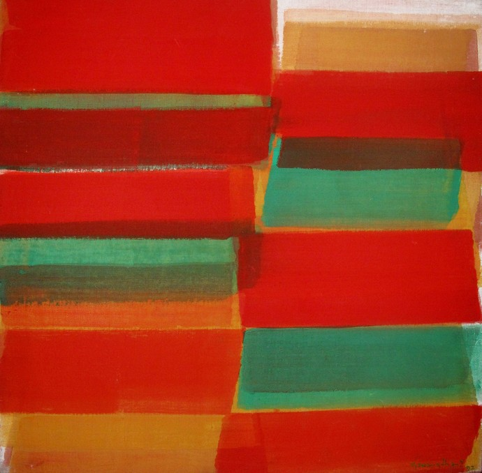 Untitled by V Viswanadhan, Abstract Painting, Acrylic on Canvas, Red color