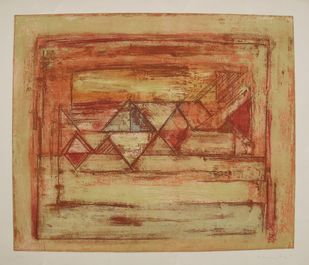 Untitled by V Viswanadhan, Abstract Printmaking, Etching on Paper, Brown color
