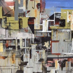 CITY - 1 by Alok Bal, Abstract Painting, Mixed Media on Canvas, Brown color