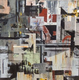 CITY - 2 by Alok Bal, Abstract Painting, Mixed Media on Canvas, Brown color