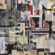 Alok bal city city 2 24 x 24 inc.mix media on canvas