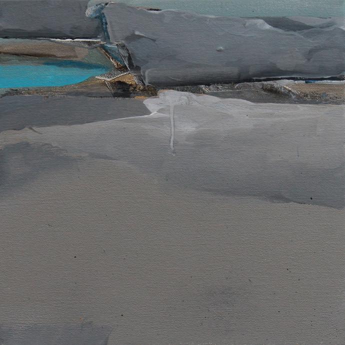 BLUE 50 by Deepak Madhukar Sonar, Impressionism Painting, Acrylic on Canvas, Gray color