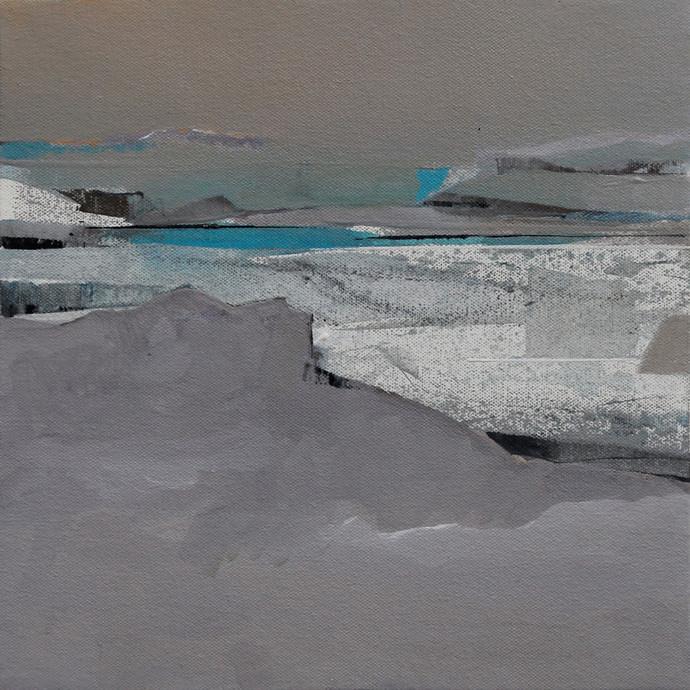 BLUE 62 by Deepak Madhukar Sonar, Abstract Painting, Acrylic on Canvas, Gray color
