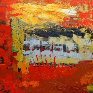 Palette Scape 1 by Nupur Kundu, Abstract Painting, Oil on Canvas, Brown color