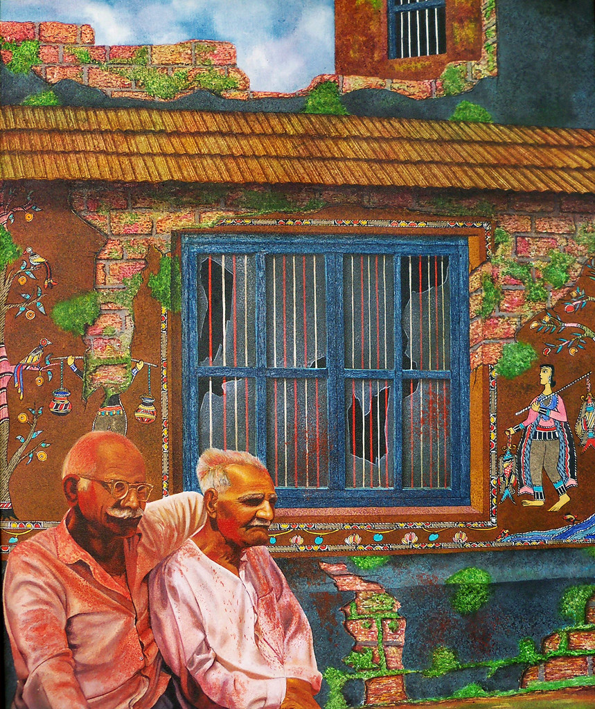 COURTYARD OF MEMORIES XV by SANTHOSH D ANDRADE, Impressionism Painting, Acrylic on Canvas, Orange color