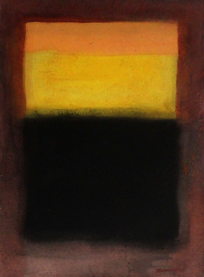 yellow and black by Bhaskar Hande, Abstract Painting, Acrylic on Paper, Brown color