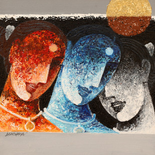 Trio by Agacharya, Decorative Painting, Acrylic on Canvas, Brown color