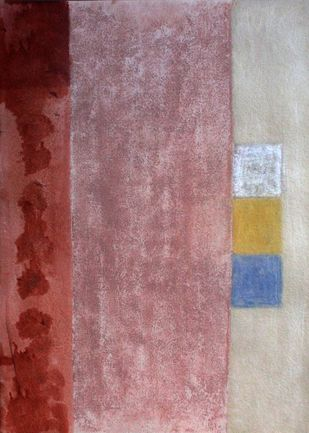 Old rose by Bhaskar Hande, Abstract Painting, Acrylic on Paper, Brown color