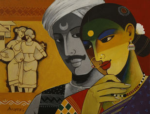 couple by Agacharya, Decorative Painting, Acrylic on Canvas, Brown color
