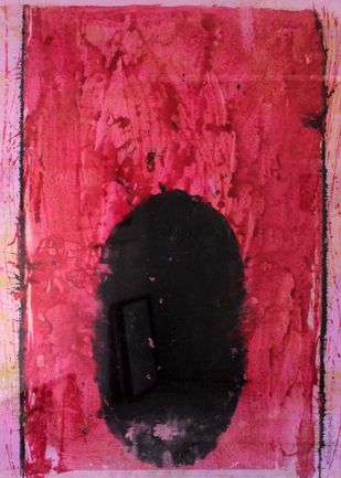 oval by Bhaskar Hande, Abstract Painting, Tempera on Paper, Pink color
