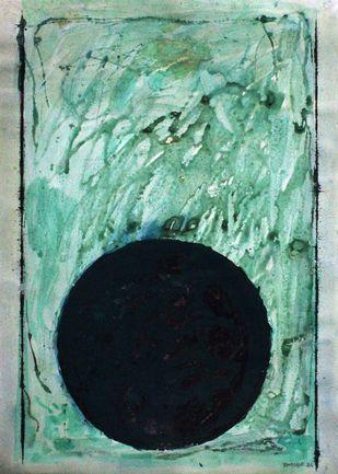 circle by Bhaskar Hande, Abstract Painting, Tempera on Paper, Cyan color