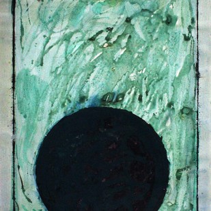 circle by Bhaskar Hande, Abstract Painting, Tempera on Paper, Cyan color