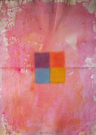 Four square by Bhaskar Hande, Abstract Painting, Acrylic on Paper, Pink color