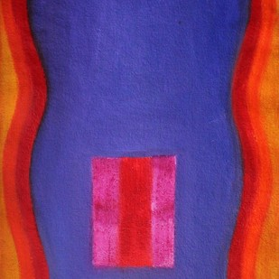 Blue and Red by Bhaskar Hande, Abstract Painting, Acrylic on Paper, Blue color