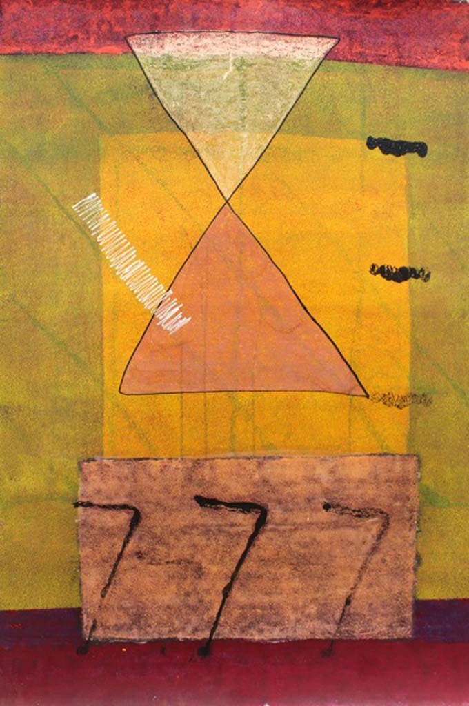 Untitled by Harsha Vardhana S, Abstract Painting, Mixed Media on Paper, Brown color